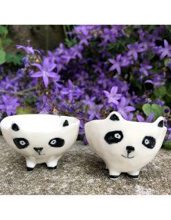lille sød håndmodeleret panda skål fra Rikke Mangelsen