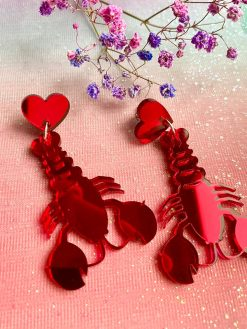 Red lobster earrings with heart pendants perfect love lobsters for valentines day