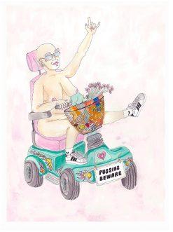 A2 illustration i pastelfarver og motivet af en glad scooter girl med hendes kurv fyldt med alle hendes favoritter fra supermarkedet