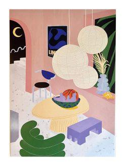 illustration af hjem i forskellige farver med store papirslamper tegnet af tyske Frauke