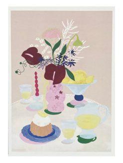Illustration af Borddækning med lemonade, kage og den fineste blomster buket. Illustreret af tyske Frauke