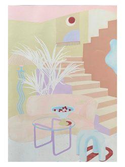 Stor Illustration af pastelfarvet stue i meget lyse farver lavet af Tyske Frauke