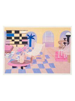 Illustration af pastelfarvet stue lavet af Tyske Frauke