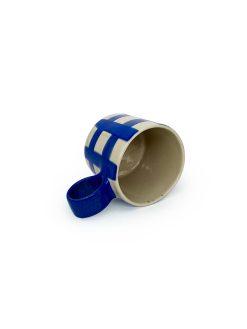 Atelier Borekull keramik kop med hank og tern i koboltblå
