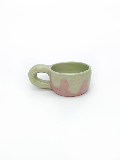 Keramik kop i lyserød og orange fra Svenske Tahkamik