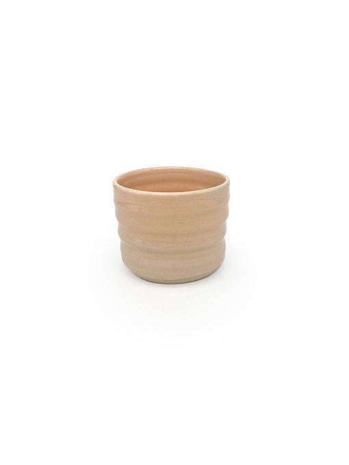 rillet keramik kop uden hank i orange