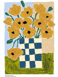kunstprint fra Kirstine Dahl Studio af fine blomster malet med olie kridt