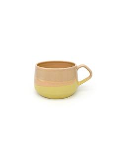 pastelfarvede keramik kopper med hank fra Arf Keramik i orange og gul