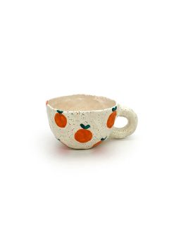 Pansy Ceramics håndlavede keramik kopper med appelsiner i lyserød