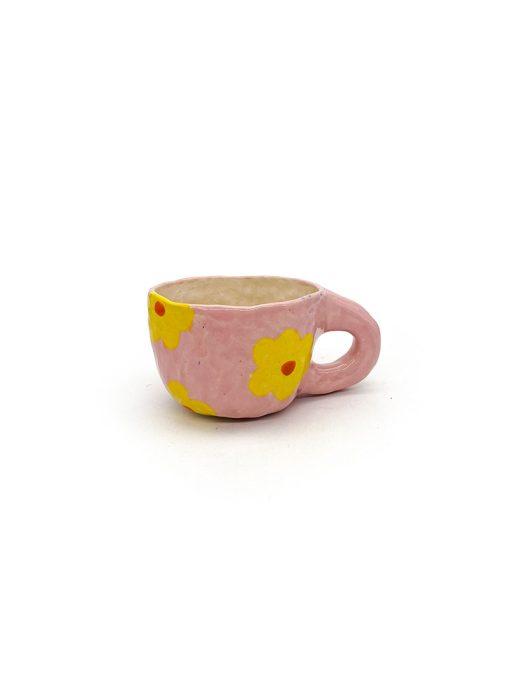 Pansy Ceramics håndlavede keramik kopper med blomster i lyserød og gul