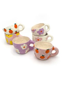 Pansy Ceramics håndlavede keramik kopper med blomster og appelsiner i forskellige farver